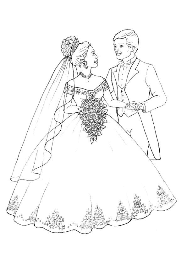 Coloriage mariage et robe de mari e dessin gratuit imprimer - Coloriage mariage ...