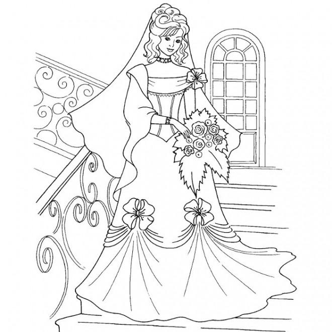 Coloriage et dessins gratuits Robe de Mariage très belle à imprimer