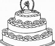 Coloriage et dessins gratuit Un gâteau de Mariage à trois étages à imprimer