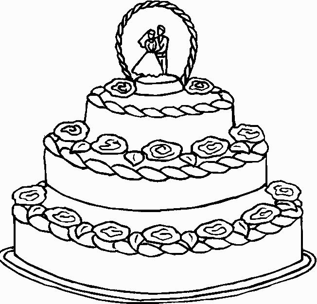 Coloriage Un Gâteau De Mariage à Trois étages