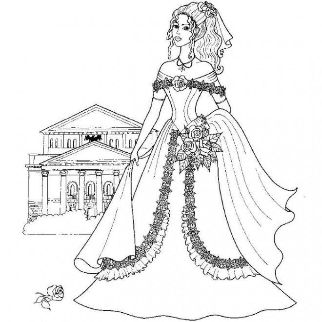 Coloriage et dessins gratuits Une jeune mariée couleur à imprimer