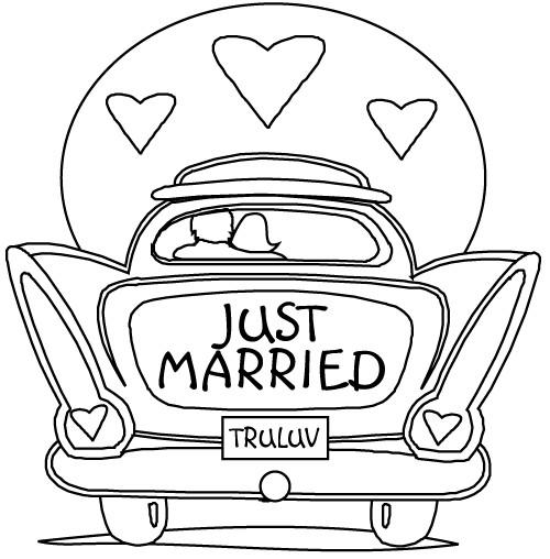 Coloriage et dessins gratuits Voiture pour Mariage à imprimer