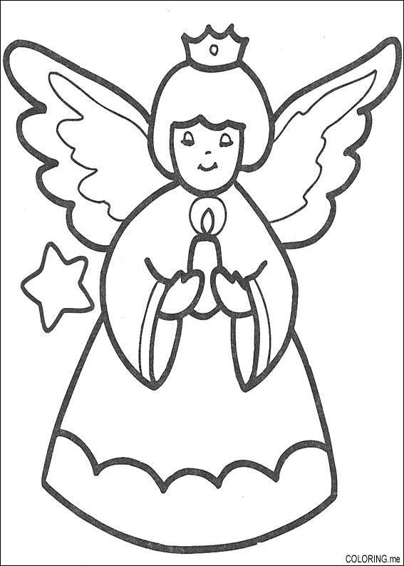 Coloriage et dessins gratuits Ange de Noël à imprimer