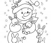 Coloriage et dessins gratuit Bonhomme de neige et ses amis lapins à imprimer