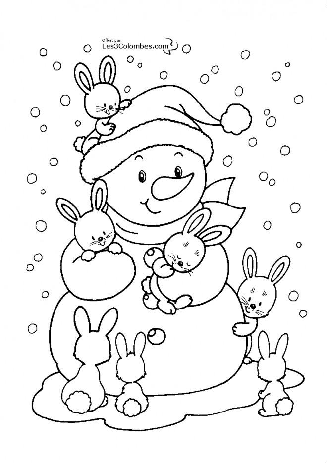Coloriage et dessins gratuits Bonhomme de neige et ses amis lapins à imprimer