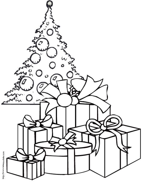 Coloriage Cadeaux sous le sapin de Noël dessin gratuit à imprimer
