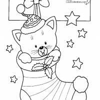 Coloriage et dessins gratuit Chaton dans le bas de Noël à imprimer