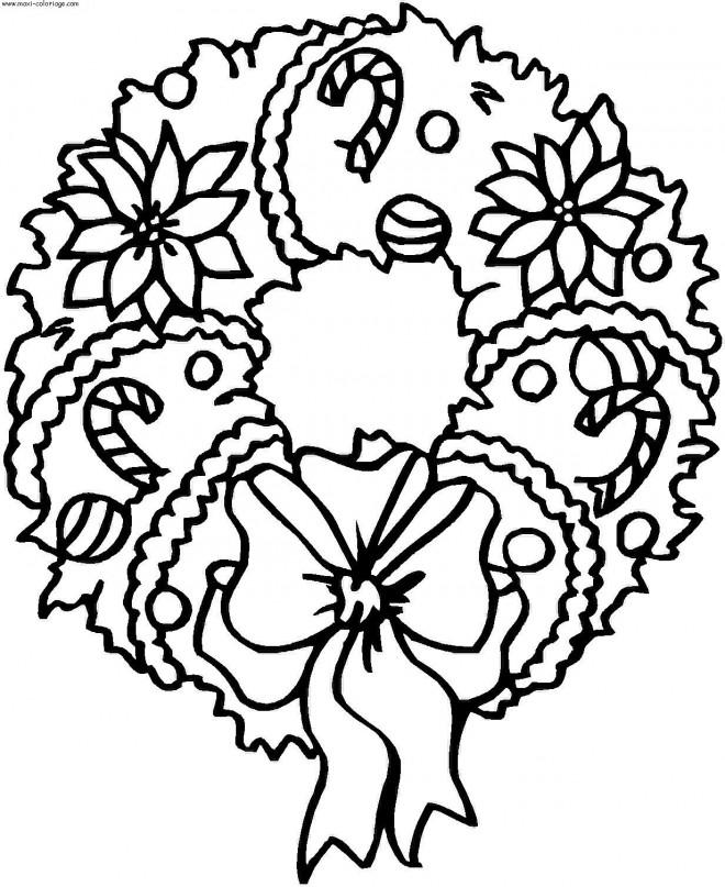 Coloriage et dessins gratuits Couronne de Noël à imprimer