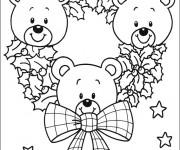 Coloriage Couronne ourson de Noël