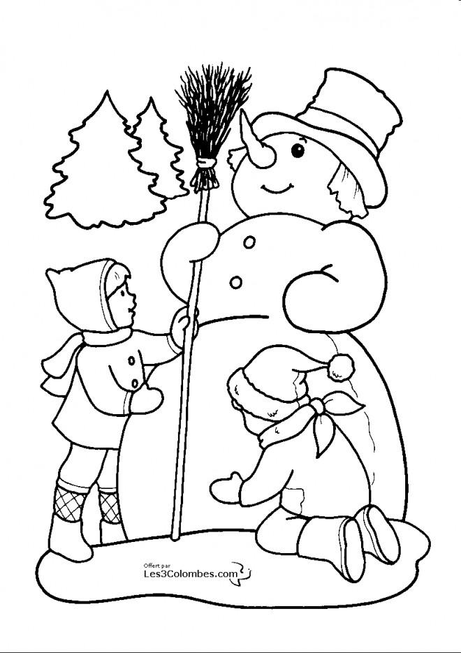 Coloriage et dessins gratuits Dessin bonhomme de neige à imprimer
