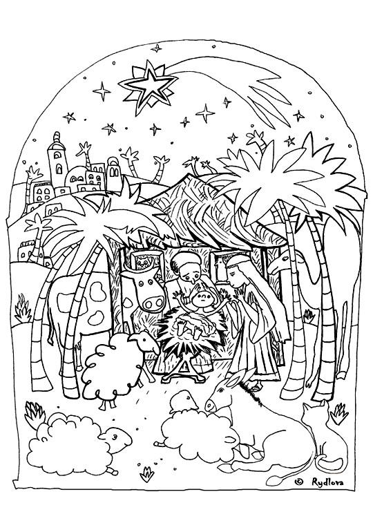Coloriage Dessin crèche de Noël dessin gratuit à imprimer