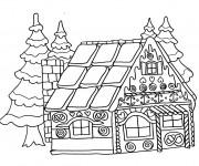 Coloriage Dessin facile Maison du Père Noël