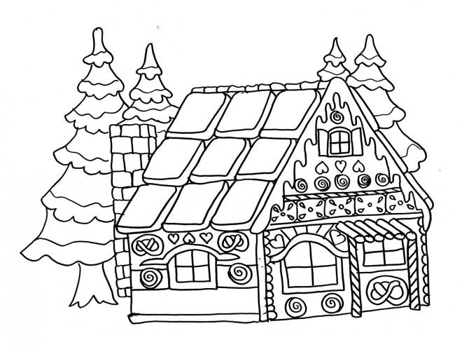 Coloriage Dessin Facile Maison Du Pere Noel