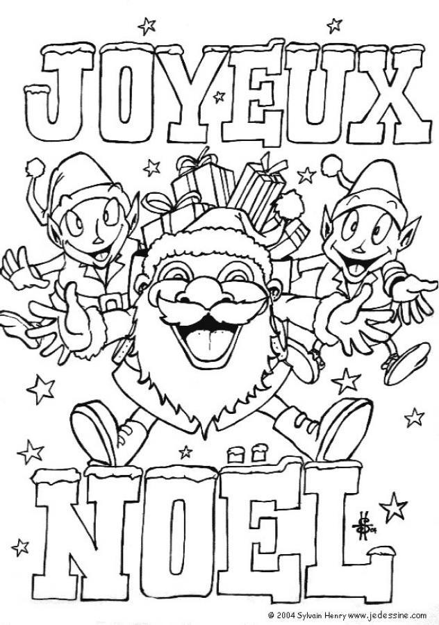 Coloriage et dessins gratuits Joyeux Noël des lutins à imprimer