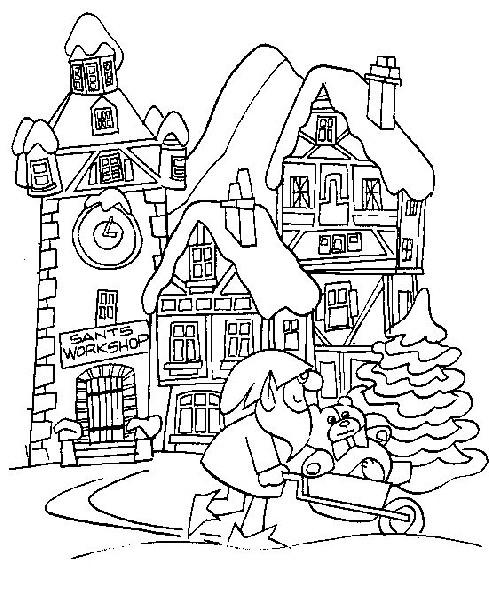 Coloriage et dessins gratuits L'atelier du Père Noël à imprimer