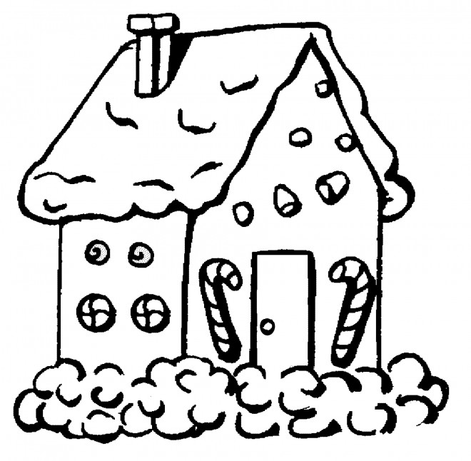 Coloriage maison de no l en pain d 39 pice - Dessin theme noel ...