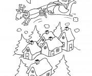Coloriage et dessins gratuit Père Noël dans le ciel à imprimer