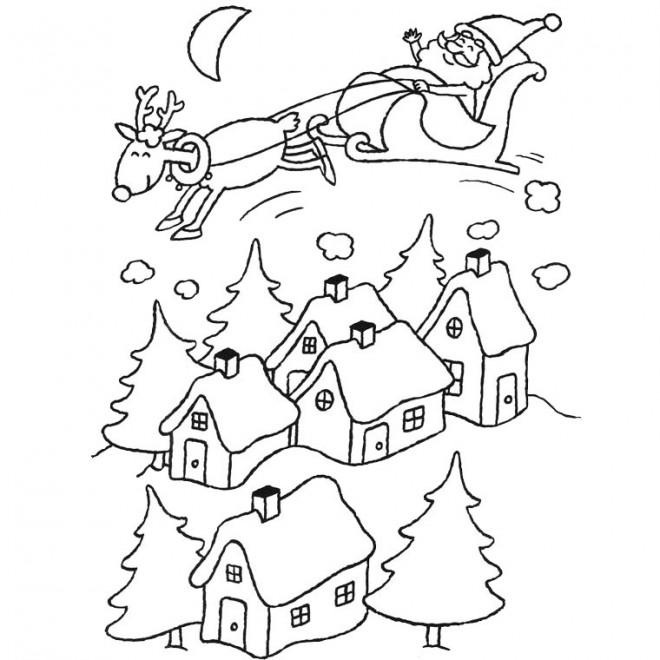 Coloriage et dessins gratuits Père Noël dans le ciel à imprimer