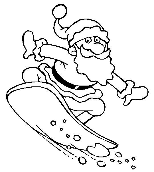 Coloriage et dessins gratuits Père Noël en planche à neige à imprimer