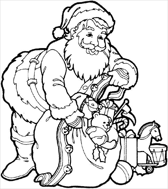 Coloriage et dessins gratuits Père Noël et son sac de cadeaux à imprimer