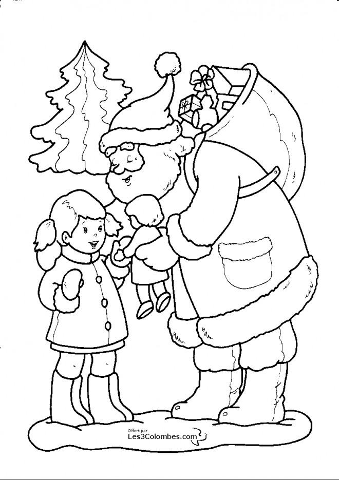 Coloriage p re no l offre un cadeau une petite fille - Petit pere noel a imprimer ...