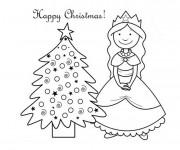 Coloriage et dessins gratuit Princesse de Noël à imprimer