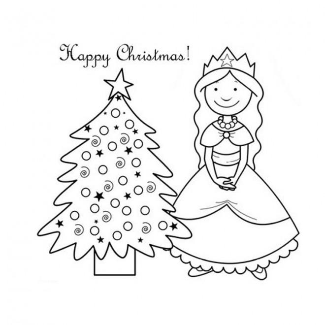 Coloriage et dessins gratuits Princesse de Noël à imprimer