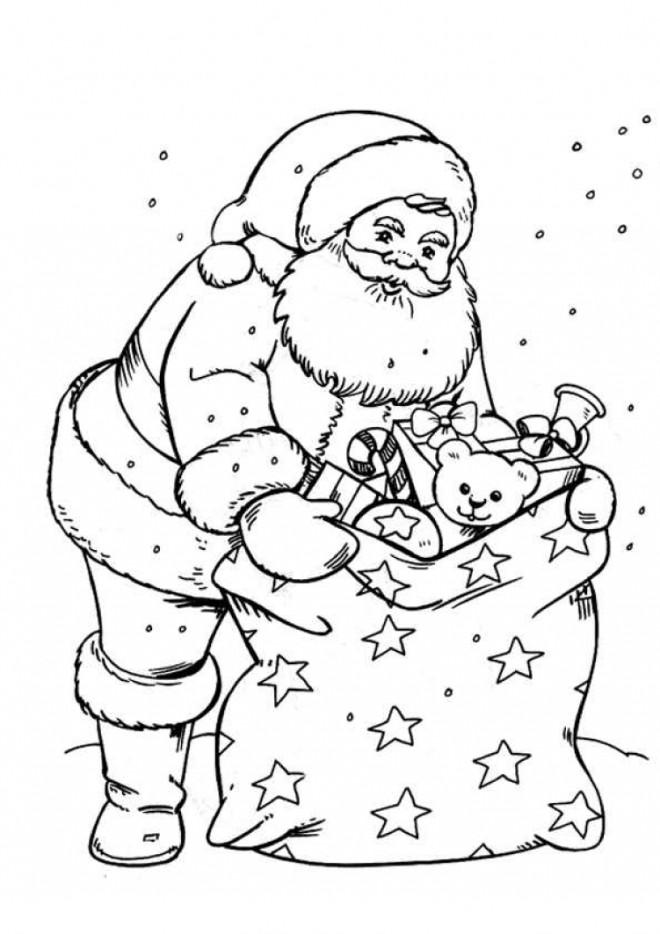 Coloriage et dessins gratuits Sac de cadeaux du Père Noël à imprimer
