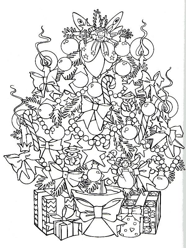Coloriage et dessins gratuits Sapin débordant d'ornements à imprimer