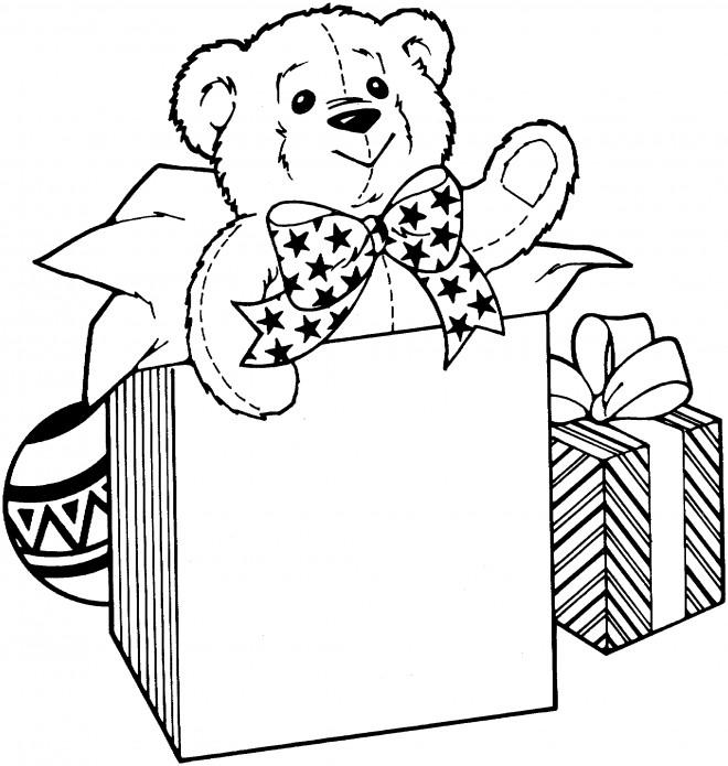 Coloriage et dessins gratuits Un ourson pour Noël à imprimer