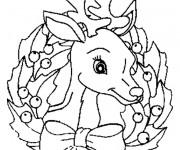 Coloriage Un renne décoré pour Noël