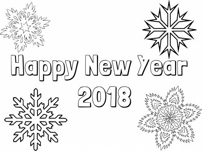 Coloriage Bonne Année 2019 Dessin Gratuit à Imprimer