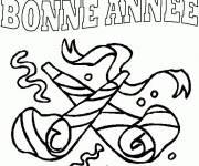 Coloriage et dessins gratuit bonne année avec cotillons,serpentins à imprimer