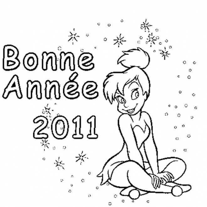 Coloriage et dessins gratuits Bonne année de fée Clochette à imprimer
