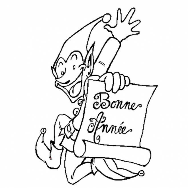 Coloriage et dessins gratuits Bonne année du lutin de Noël à imprimer