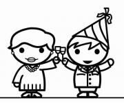 Coloriage et dessins gratuit Chin chin pour la nouvelle année à imprimer