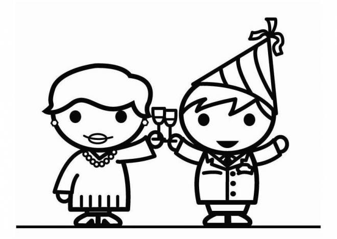 Coloriage et dessins gratuits Chin chin pour la nouvelle année à imprimer