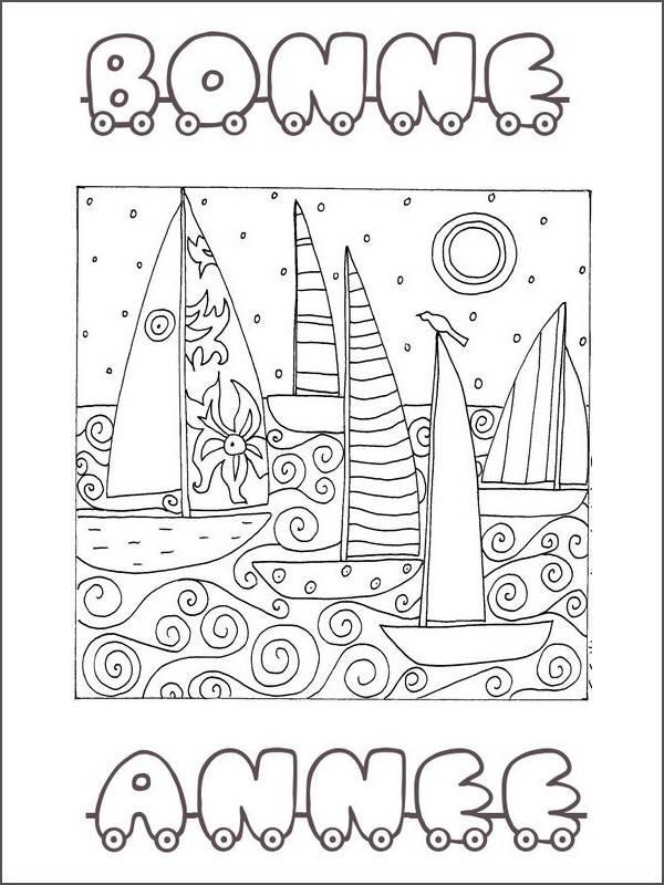 Coloriage et dessins gratuits Coloriage anti-stress Bonne annee à imprimer