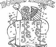 Coloriage et dessins gratuit Coloriage de Bonne Année avec cotillons et ballons à imprimer