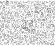 Coloriage et dessins gratuit Doodle bonne année à imprimer