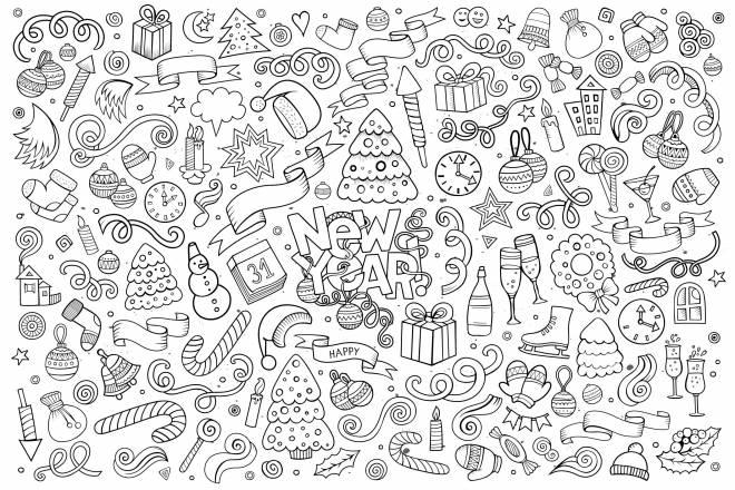 Coloriage et dessins gratuits Doodle bonne année à imprimer