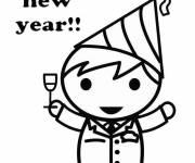 Coloriage et dessins gratuit Fête Nouvel an à imprimer