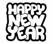 Coloriage et dessins gratuit Lettrage Bonne année à imprimer