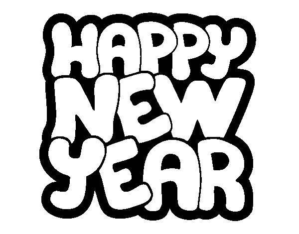 Coloriage et dessins gratuits Lettrage Bonne année à imprimer