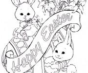 Coloriage Cadeaux Lapin de Pâques