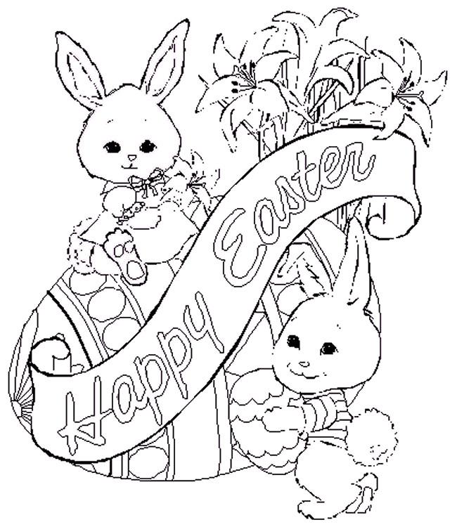 Coloriage et dessins gratuits Cadeaux Lapin de Pâques à imprimer