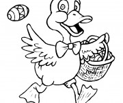 Coloriage Canard porte L'oeuf de Pâques