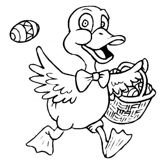 Coloriage et dessins gratuits Canard porte L'oeuf de Pâques à imprimer