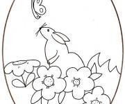 Coloriage Dessin de souris sur Oeuf de Pâques