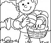 Coloriage Enfant en train de collecter les oeufs